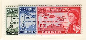 DOMINICA 1958 CARIBBEAN FEDERATION BLOCKS OF 4 MNH