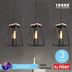 3X Modern Pendant Light Trapezoid Shape Timber Ceiling Lamp Open Frame Black
