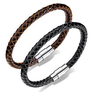 "DG Men's Stainless Steel Black or Brown Braided Magnetic Leather Bracelet 8.5"""