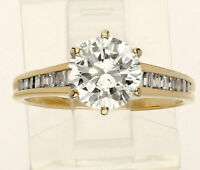 Diamond engagement ring 14K yellow gold 1.53CT round brilliant baguettes 1.78CTW