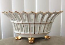 """Old Paris Gold Reticulated Centerpiece 4 Legged Oval Compote Bowl 8"""" x 6.5"""""""