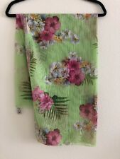 Athena Swimsuit Cover Up Sarong Scarf Skirt Soft Mesh Knit Green Floral