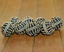 New 8 pieces of fine Sterling Silver Bali beads - 14mm Was $156 - A1095a+