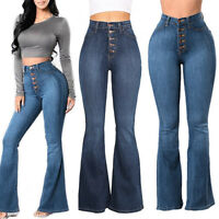 Plus Size Women Elastic Flare Pants Denim Pocket Button Casual Boot Cut Jeans US