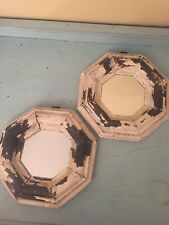 Anthropologie Octagon Painted Off White Brown Wood Distressed Mirrors Farmhouse