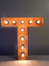 "New Rustic Metal Letter T Light Marquee: Sign Wall Decoration 12"" Vintage"