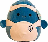 """Squishmallow Kellytoy Ricky The Blue Fish 8"""" Plush Doll Toy Pillow Pet"""
