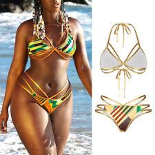 2019 Sexy Women Bikini Set Bandage Floral Padded Triangle Swimsuit Swimwear Suit