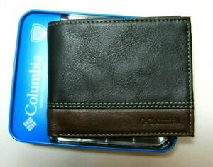 Columbia Mens Bifold Leather RFID Security Wallet Black/Brown 31CP220011