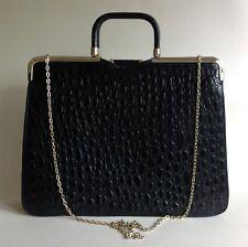 Vintage 1970s Large Handbag Case Black Moc Croc Leather With Suede Lining Elbief