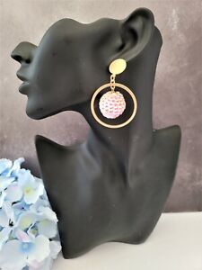 Pink Sequin Hoop Drop Earrings with Brushed Gold Tone 6 cms Long Clip on Option