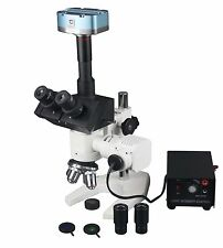 Industrial Metallurgy Reflected Light Microscope Horse Shoe Base w 1.3Mp Camera