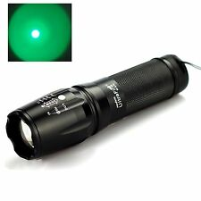 Zoomable 800LM  XM-L T6 Green Light LED Flashlight Focus Torch 18650/AAA