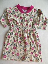girls TEA COLLECTION COTTON DRESS floral KHAKI casual 3/4 SLEEVE size 4 clean!