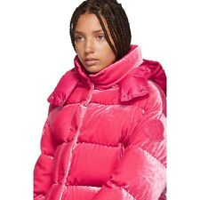 Moncler 'Caille' Pink Velvet Down Puffer Jacket Coat Size 2