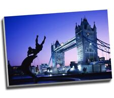 London Tower Bridge Purple Sky Canvas Art Print Poster 30x20""