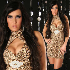 SeXy Miss Damen Neckholder Mini Kleid Strass Dress gold Glitzer XS/S leopard Neu