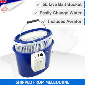 5L 3in1 LIVE BAIT BUCKET & Free Aerator Pump - 120+ hrs run time - 2 speed