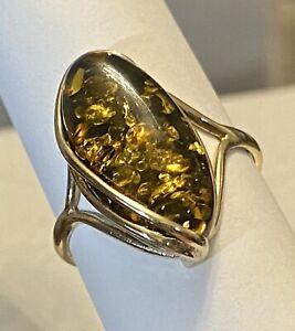 VIntage💥9k SOLID GOLD RING/ STUNNING AMBER-foil Backing Size 8.5 Hallmarked 💥