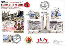 """Maxi-FDC CANADA-FRANCE """"WWI 1917-2017 Bataille de la crête de Vimy / Arras"""""""