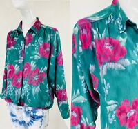 Vtg ALAN AUSTIN OF BEVERLY HILLS Green Floral Silk Blouse Top, Made in Italy S