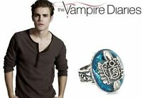 The Vampire Diaries Stefan Salvatore S Crest  Lapis Antique Silver Daylight Ring