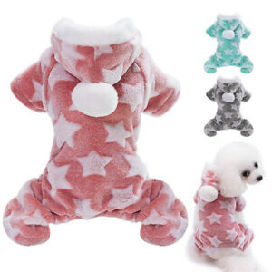 Pet Dog Puppy Warm Fleece Jumpsuit Pajamas Clothes Hoodies Winter Coat Clothing