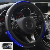 1*15''/38cm Black/Blue Car Steering Wheel Cover PU Leather Breathable Anti-slip