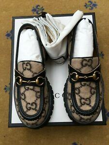 New Gucci Mens Shoes Monogram Wool Horsebit Loafers UK 6 US 7 EU 40 Bee