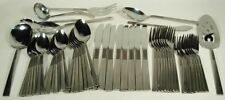 VINTAGE JAPAN STAINLESS STEEL FLATWARE SET 56 PCS WITH SERVING PIECES