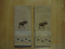 NWT 2 MOOSE with TRACKS Tan/Beige Hand Towels, Northwoods, cabin decor.