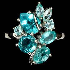 925 Sterling Silber Ring, Weißgold beschichtet Neon Blau Apatit & Cubic Zirconia