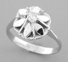 ANTIQUE VINTAGE 14K WHITE GOLD LADIES SOLITAIRE FLOWER RING SIZE 6