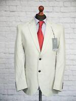 M&S Men's Linen Blend Jacket 40R Single Breasted Beige