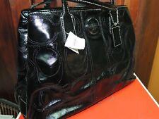 NEW Coach Patent Leather Carryall Black Stitch Monogram Box Purse Handbag