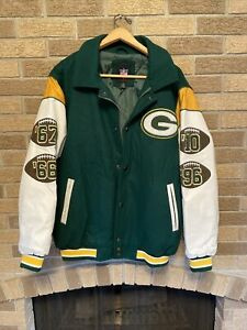 Green Bay Packers G III Varsity Jacket 4x Superbowl Champions Wool/Leather Sz.L