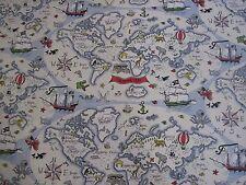 "SANDERSON CURTAIN FABRIC DESIGN ""Treasure Map"" 3 METRES VANILLA  ABRACAZOO"