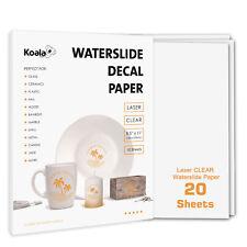 Koala 20 Sheets Premium LASER CLEAR Waterslide Decal Transfer Paper Water Slide