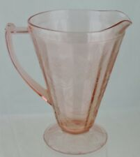VINTAGE PINK DEPRESSION GLASS FLORAL POINSETTIA PITCHES GLASSWARE
