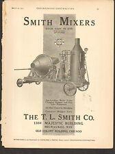 VINTAGE MAGAZINE AD #00328 -1911 SMITH CEMENT MIXER - MILWAUKEE
