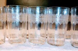 11 Finest Delicate Crystal Etched Ribbed glasses elegant  -1920-1930