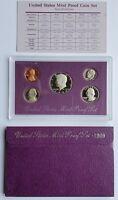 1989 S Proof Set US Mint Original Box 5 Coins