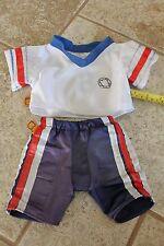 BAB Build a Bear blue white soccer number 8 shirt pants set lot