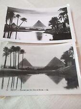 Vintage 1949 2 Postcards Real Photos Egypt Pyramids from Kasr-el-Haram