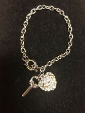 Juicy Couture Double Heart Key Charm Toggle Silver Bracelet Bling NEW $98