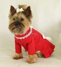 XXS Red and Lace Turtleneck T Shirt Dog Dress Knit clothes pet Teacup PC Dog®