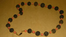 VERY PRETTY BLACK/CORAL STONE NECKLACE