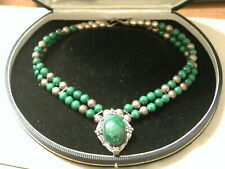 """Malachite Sterling 17"""" necklace 7mm beads and oval centerpiece"""