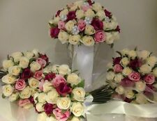 IVORY FUSHIA PINK  ROSE PCKAGE 8 PIECE WEDDING  BOUQUET ARTIFICAL SILK FLOWER