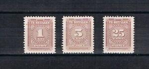 Suriname 1945 old set Taxstamps (Michel D 33/35) nice unused/MLH